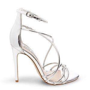 Steve Madden Strappy Chrome Silver Stiletto Heels